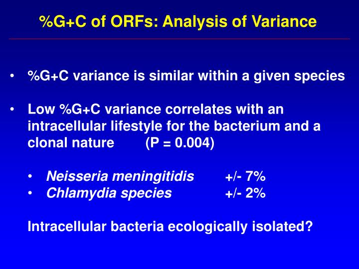 %G+C of ORFs: Analysis of Variance