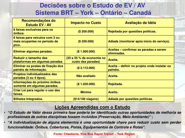 Decisões sobre o Estudo de EV / AV