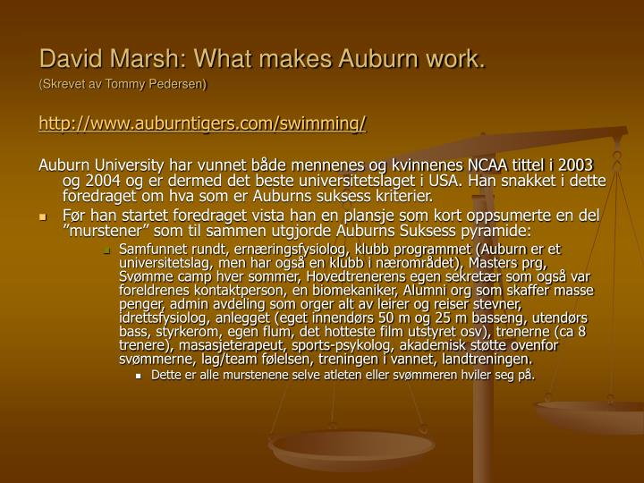 David Marsh: What makes Auburn work.