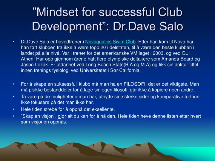 """Mindset for successful Club Development"": Dr.Dave Salo"