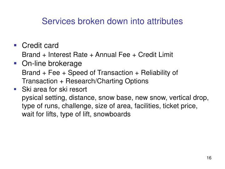 Services broken down into attributes