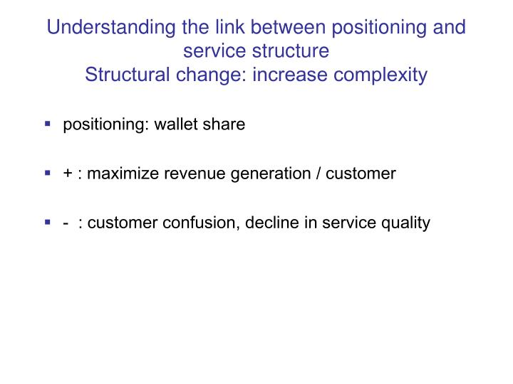 Understanding the link between positioning and service structure