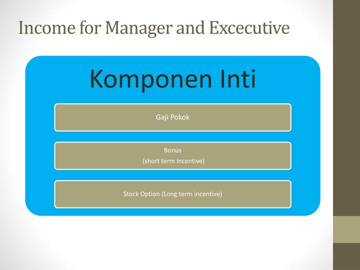 Income for Manager and Excecutive