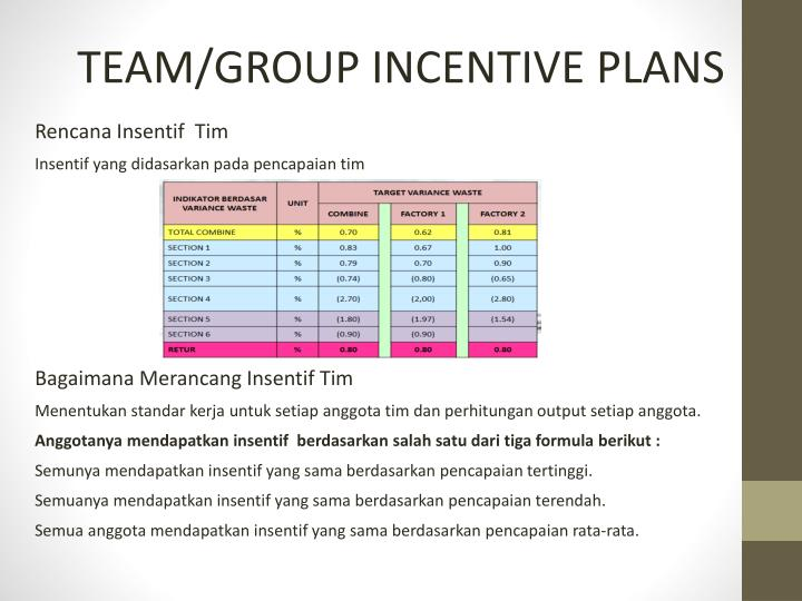 TEAM/GROUP INCENTIVE PLANS