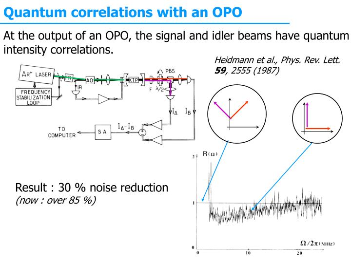 Quantum correlations with an OPO