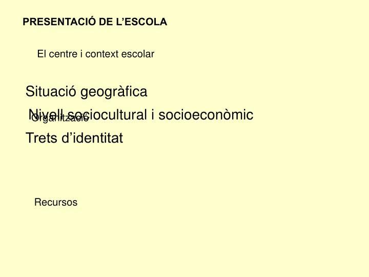 PRESENTACIÓ DE L'ESCOLA