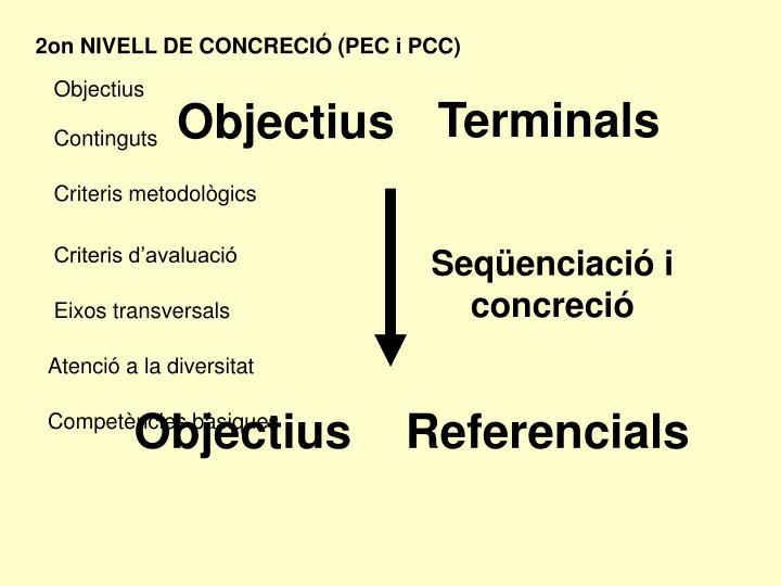 2on NIVELL DE CONCRECIÓ (PEC i PCC)