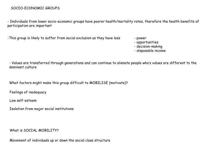 SOCIO-ECONOMIC GROUPS