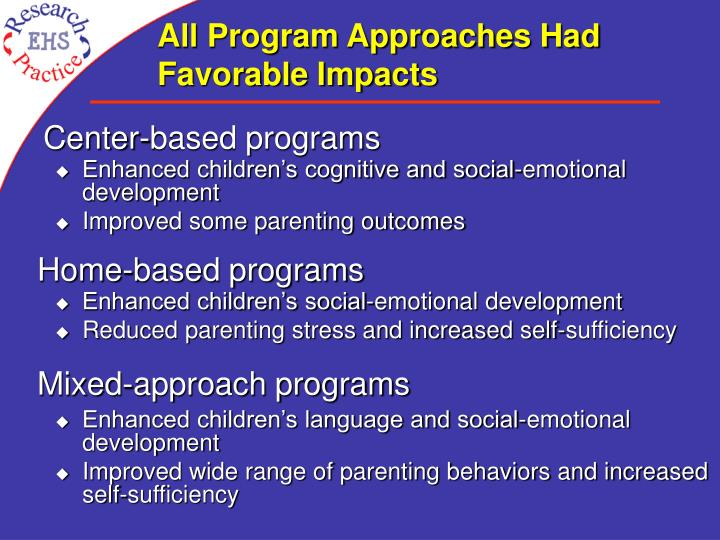 All Program Approaches Had Favorable Impacts