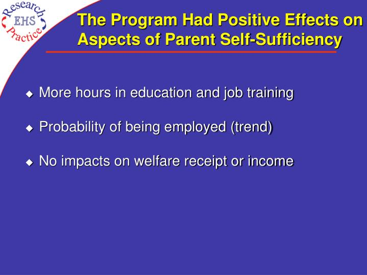 The Program Had Positive Effects on Aspects of Parent Self-Sufficiency