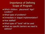 importance of defining scope of program