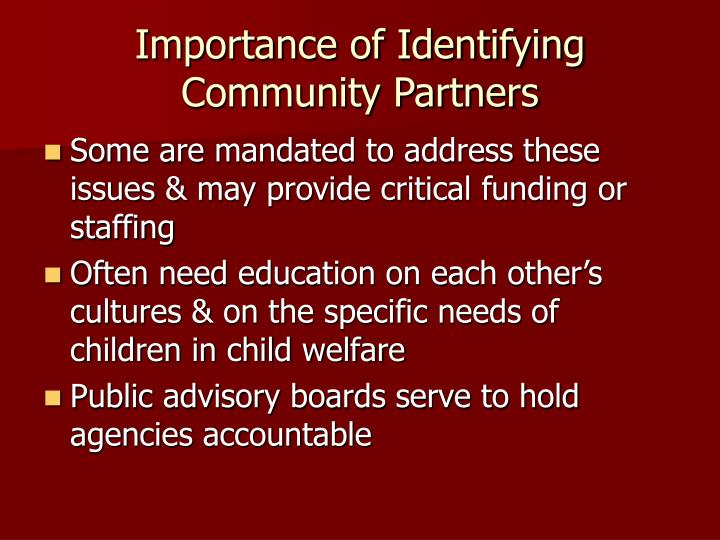 Importance of Identifying Community Partners