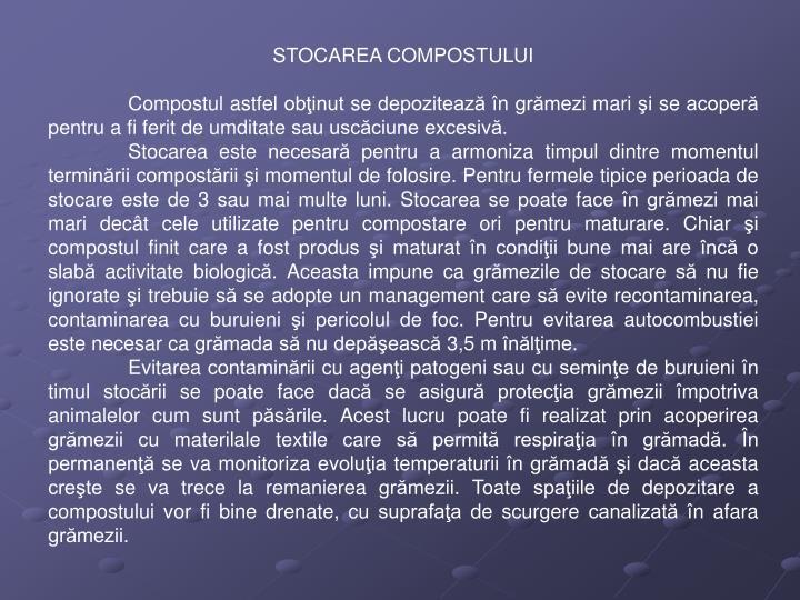 STOCAREA COMPOSTULUI