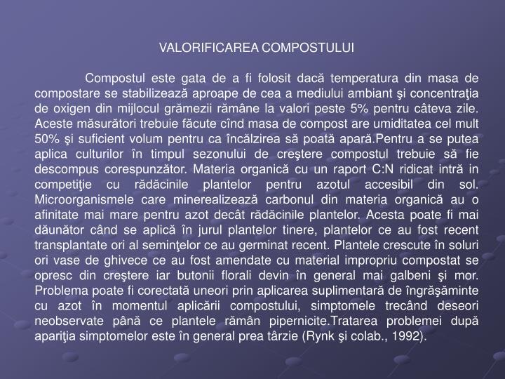 VALORIFICAREA COMPOSTULUI