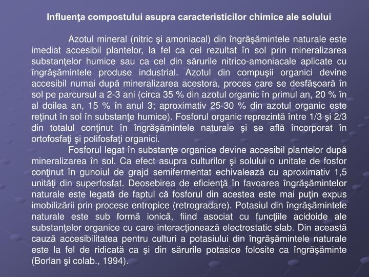 Influenţa compostului asupra caracteristicilor chimice ale solului