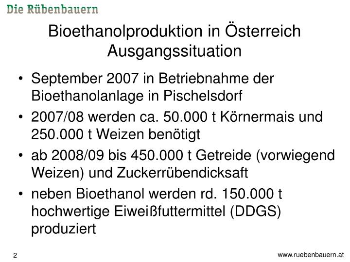 Bioethanolproduktion in sterreich ausgangssituation