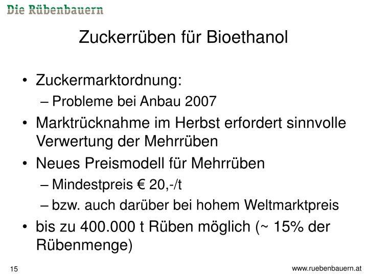 Zuckerrüben für Bioethanol