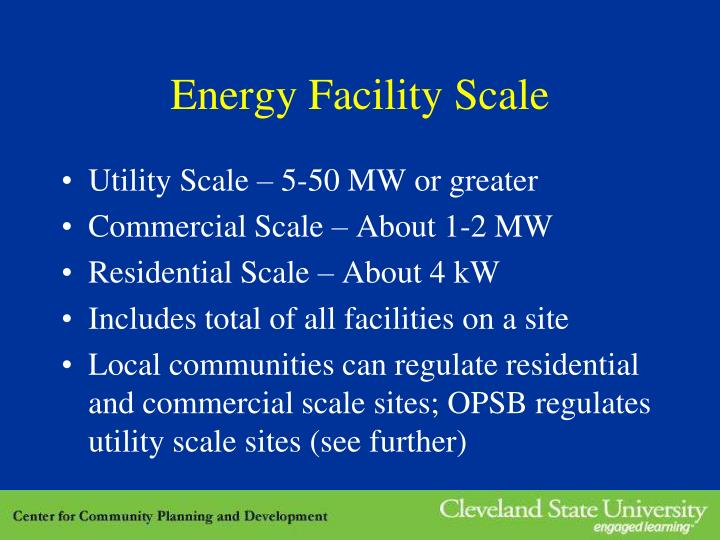 Energy Facility Scale