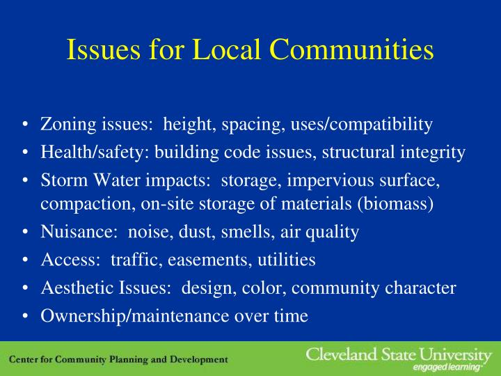 Issues for Local Communities