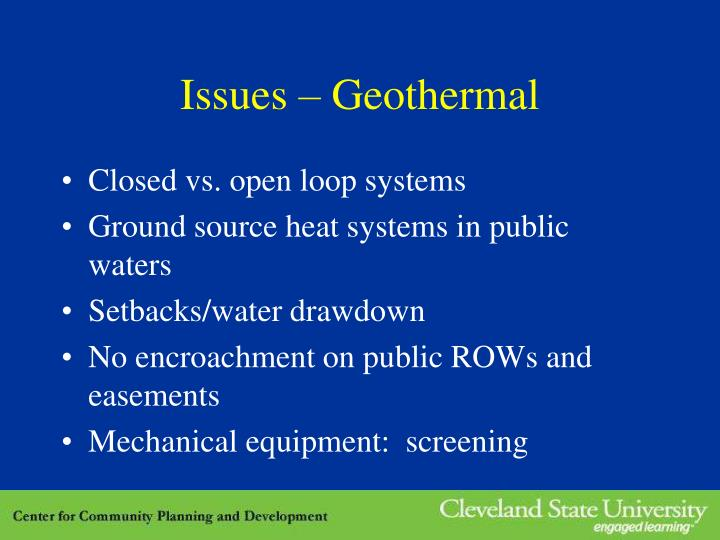 Issues – Geothermal