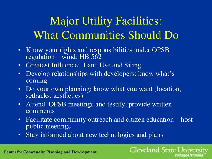 Major Utility Facilities: