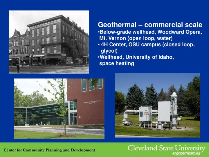 Geothermal – commercial scale