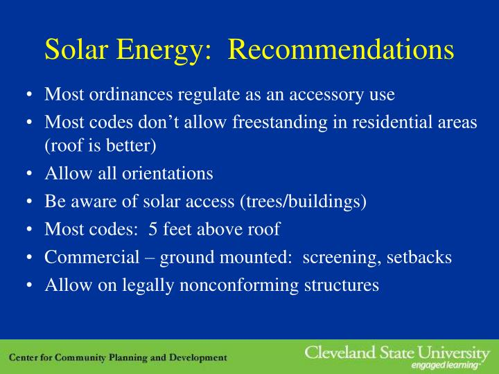 Solar Energy:  Recommendations