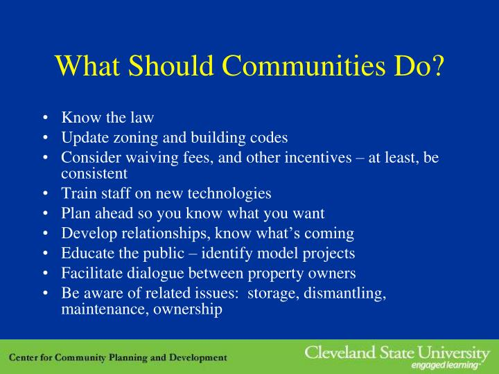 What Should Communities Do?