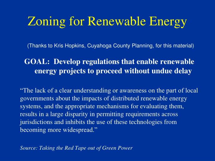 Zoning for Renewable Energy