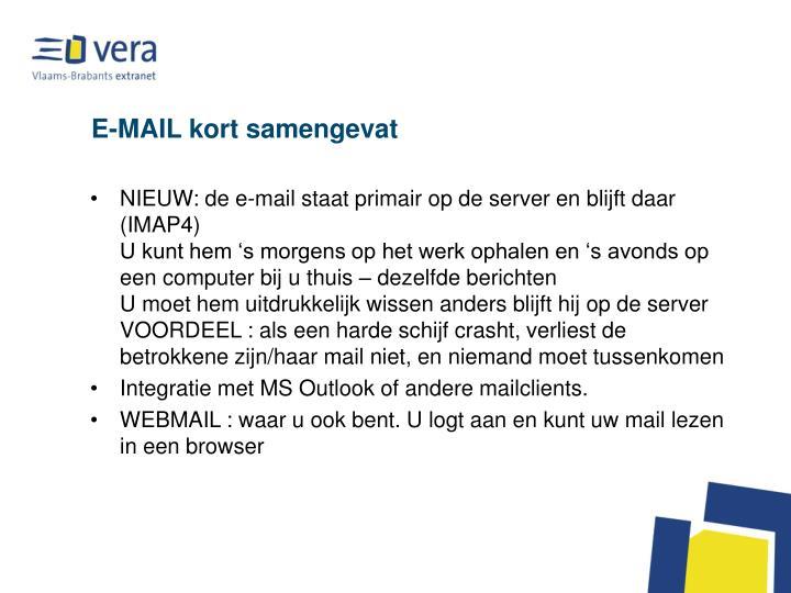 E-MAIL kort samengevat