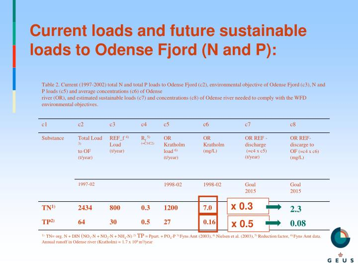 Current loads and future sustainable loads to Odense Fjord (N and P):