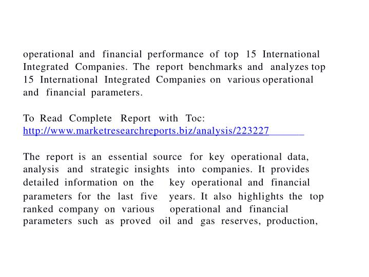 Top 15 international integrated companies financial oper