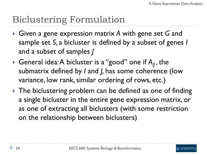 Biclustering Formulation