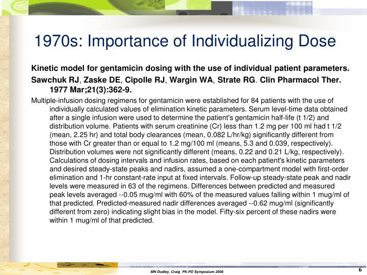 1970s: Importance of Individualizing Dose