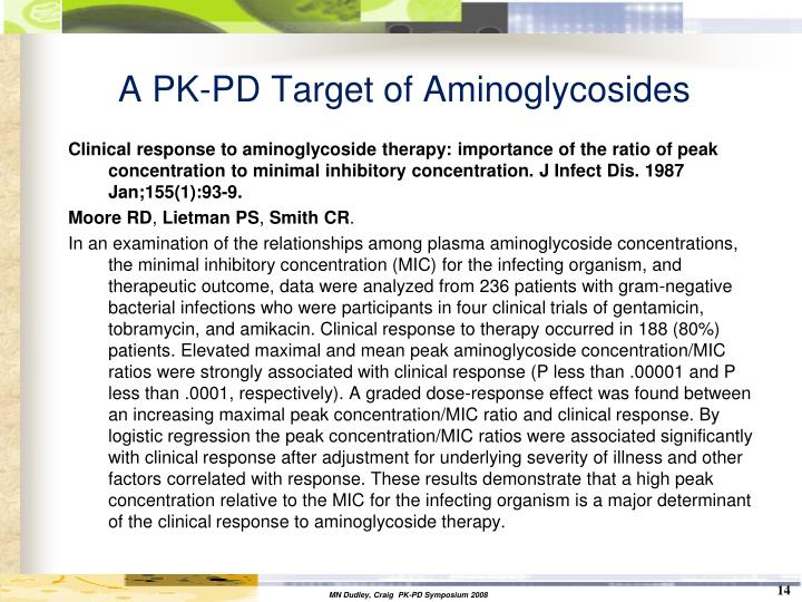 A PK-PD Target of Aminoglycosides