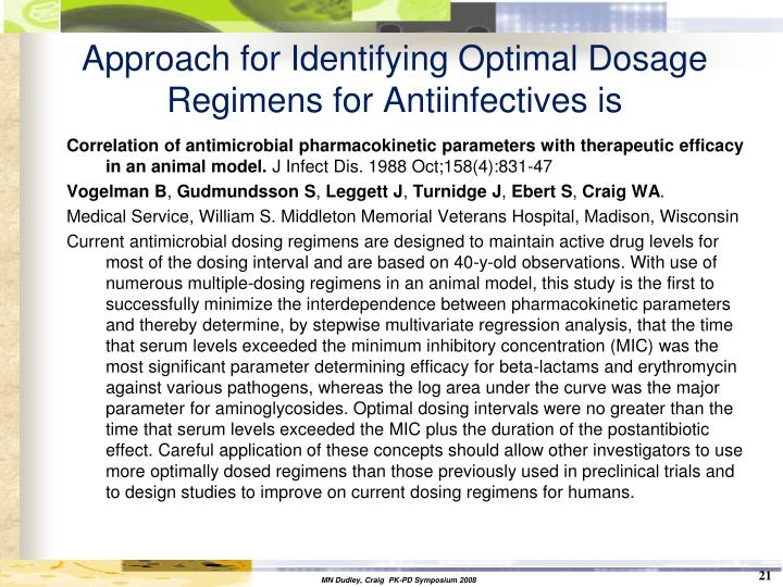 Approach for Identifying Optimal Dosage Regimens for Antiinfectives is