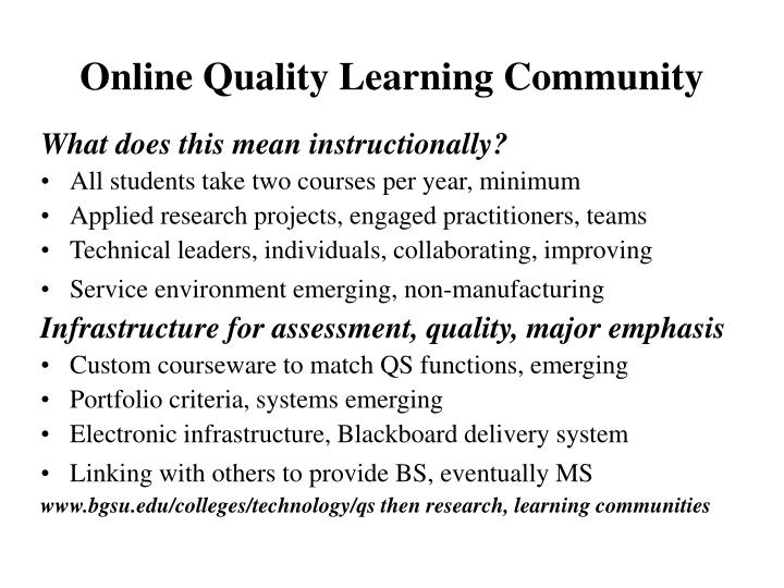 Online Quality Learning Community