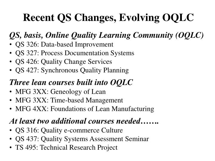 Recent QS Changes, Evolving OQLC