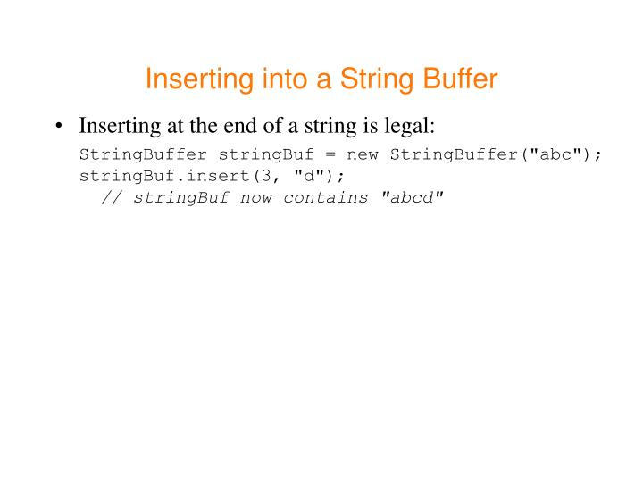 Inserting into a String Buffer