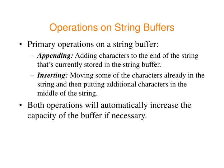 Operations on String Buffers