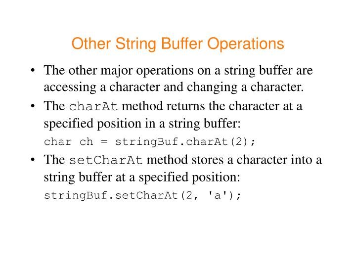 Other String Buffer Operations