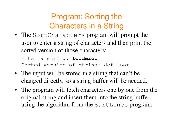 Program: Sorting the