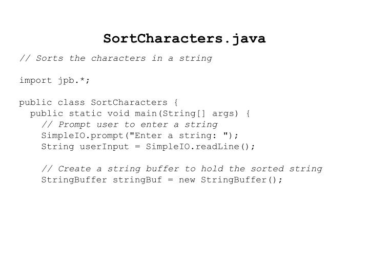 SortCharacters.java