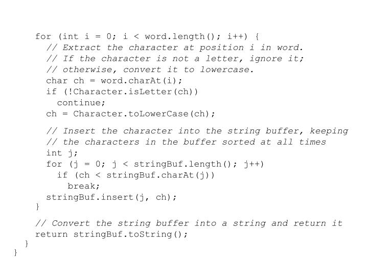 for (int i = 0; i < word.length(); i++) {