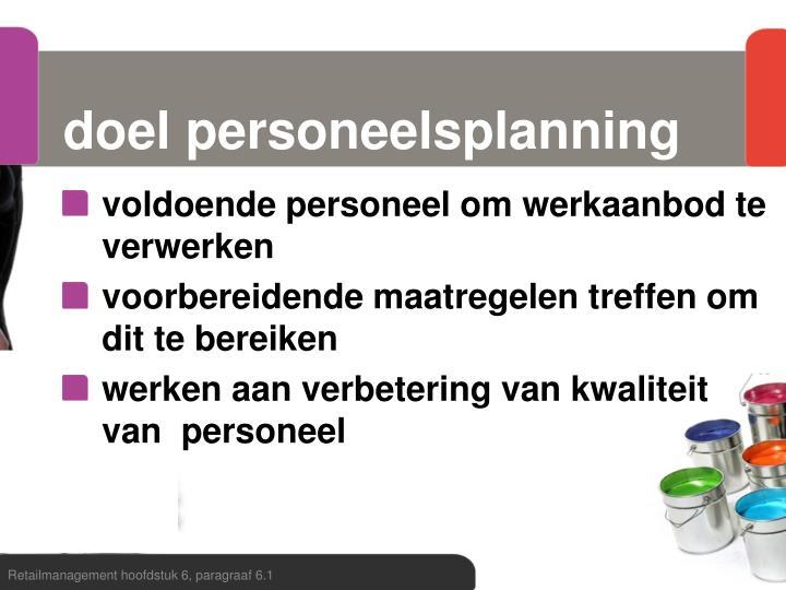 doel personeelsplanning
