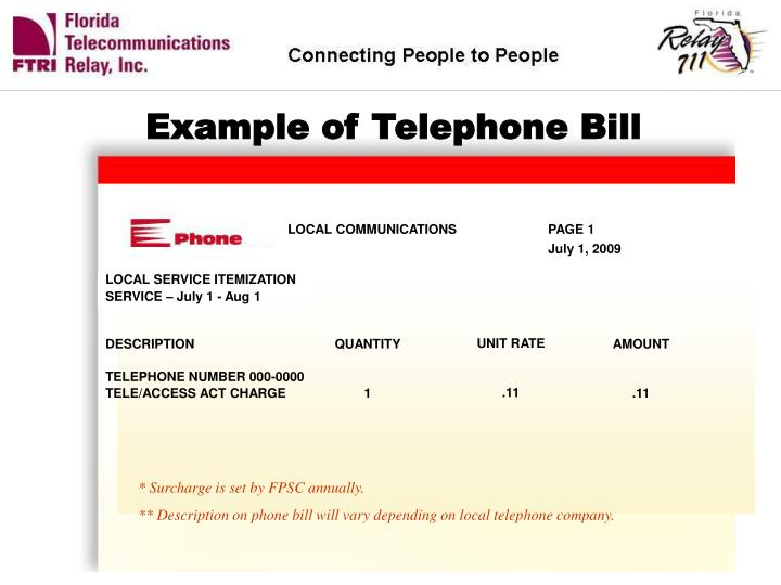 Example of Telephone Bill