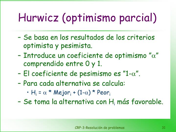 Hurwicz (optimismo parcial)