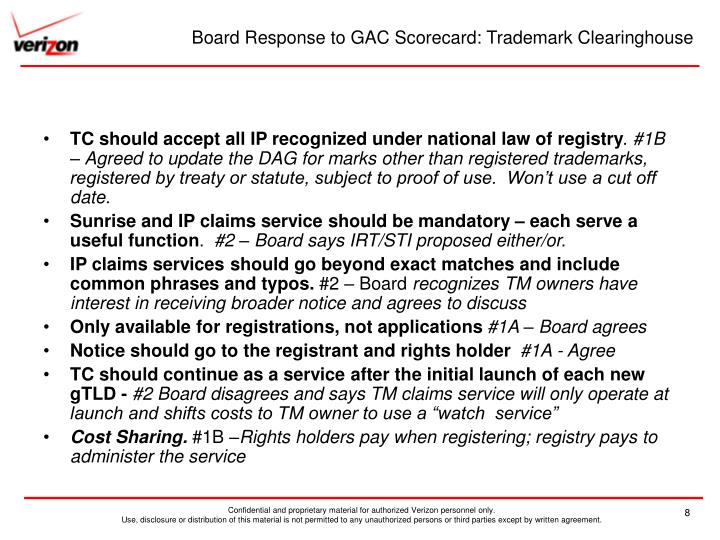 Board Response to GAC Scorecard: Trademark Clearinghouse