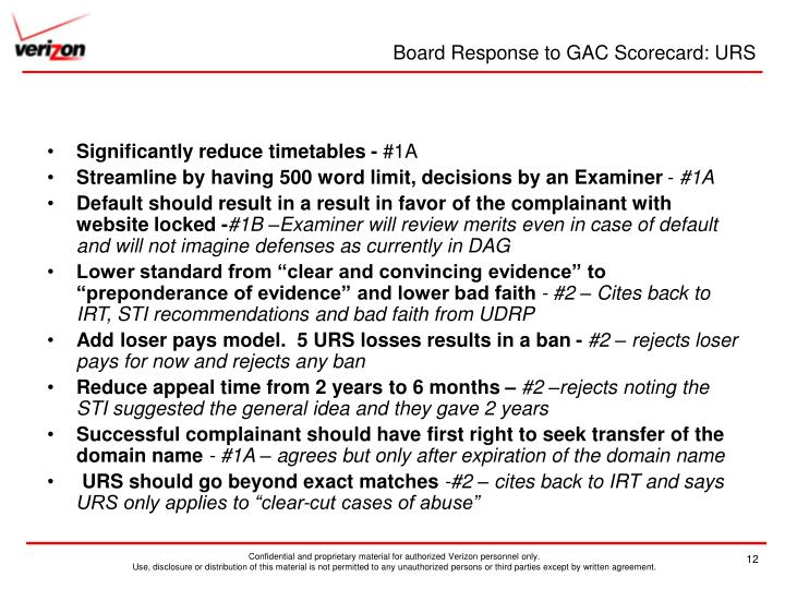 Board Response to GAC Scorecard: URS