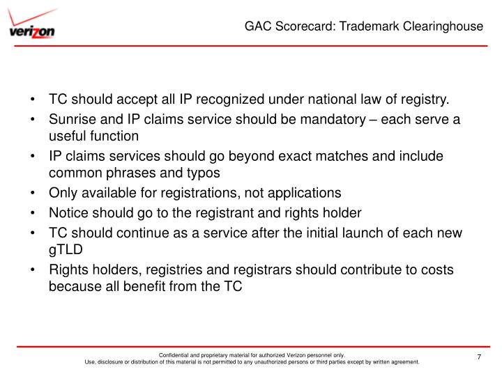 GAC Scorecard: Trademark Clearinghouse